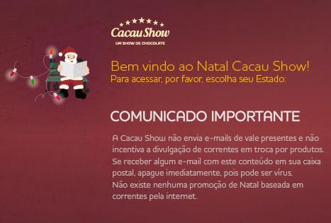 Corrente de e-mail Cacau Show 2012 é falso