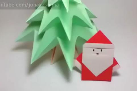 Origami de Árvore de Natal e Papai Noel