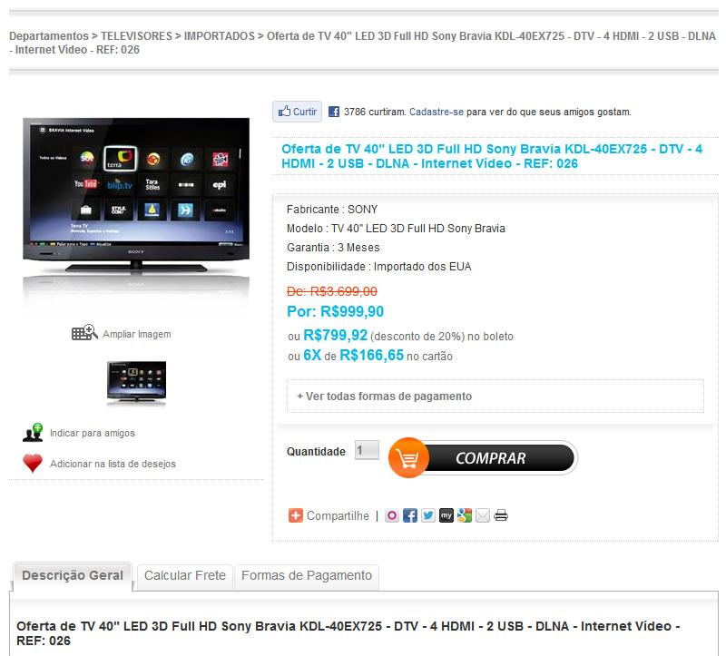 Ofertone.com anúncio Sony Led 40 polegadas