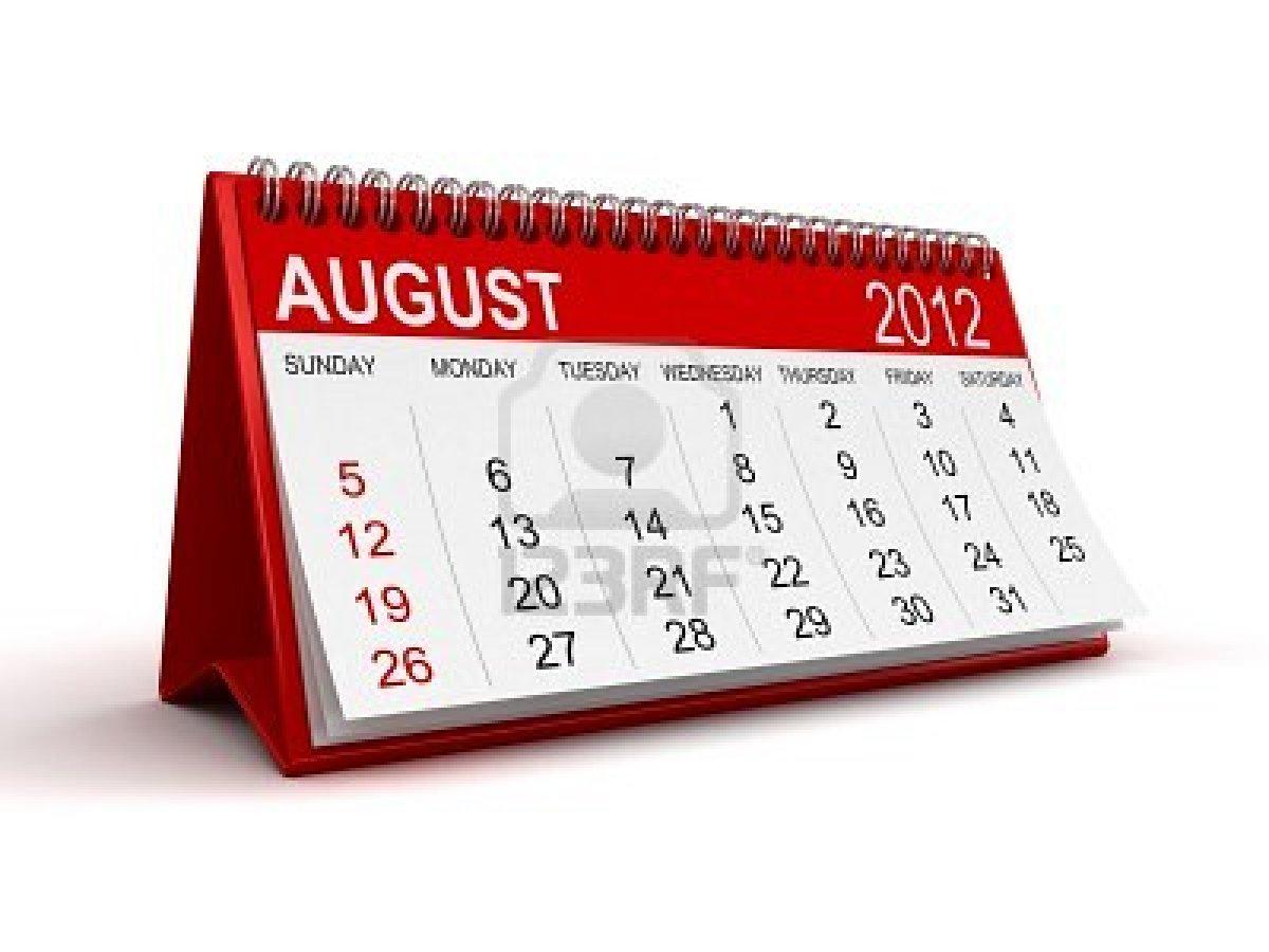 Calendário Agosto de 2012