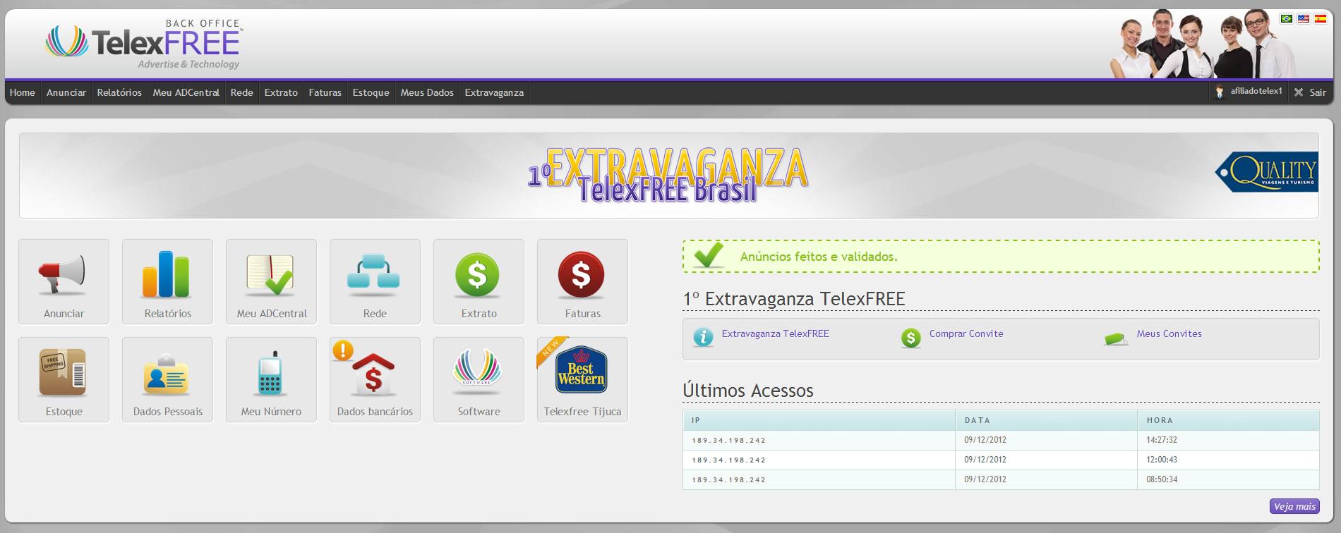 Back Office TelexFREE (clique na imagem para ampliar)